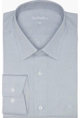 Hateko Dar Kesim Küçük Kareli Mavi Çizgili - Gri - Beyaz Gömlek