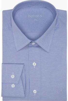 Hateko Dar Kesim Eşit Çizgili Mavi - Beyaz Gömlek