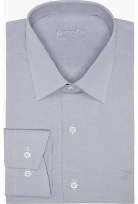 Hateko Dar Kesim Eşit Çizgili Gri - Beyaz Gömlek