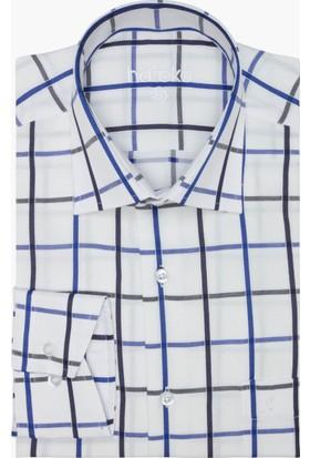 Hateko Ekose Kareli Mavi - Lacivert - Beyaz Klasik Kesim Gömlek