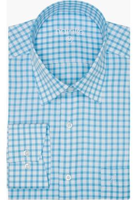 Hateko Açık Mavi - Beyaz Kareli Pamuk Klasik Kesim Gömlek