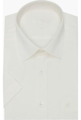 Hateko Klasik Kesim Kısa Kollu Krem Takım Elbise Gömleği