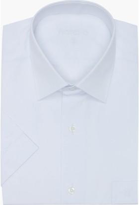 Hateko Klasik Kesim Pamuk Saten Kısa Kollu Beyaz Takım Elbise Gömleği