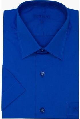 Hateko Klasik Kesim Pamuk Saten Kısa Kollu Saks Mavi Takım Elbise Gömleği