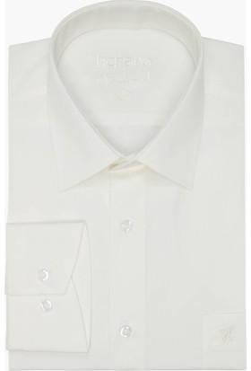 Hateko Krem Klasik Kesim Takım Elbise Gömleği