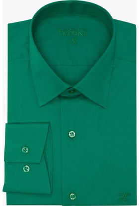 Hateko Dar Kesim Pamuk Saten Yeşil Takım Elbise Gömleği