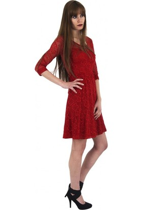 Adressim Uzun Kollu Oval Yaka Saten Kemerli Kloş Etekligüpür Kısa Abiye Elbise