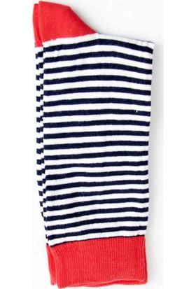 DeepSEA Lacivert-Kırmızı Desenli Uzun Erkek Çorap 1707066-076