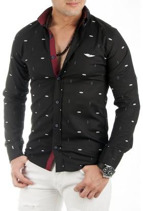 DeepSEA Siyah Desenli Likralı Uzun Kollu Erkek Gömlek 1701016-002