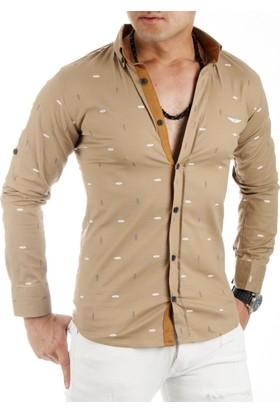 DeepSEA Kahve Desenli Likralı Uzun Kollu Erkek Gömlek 1701016-007