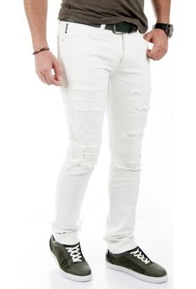 DeepSEA Beyaz Likralı Lazer Kesim Yırtık Slimfit Erkek Kot Pantolon 1701822-001