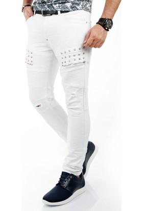 DeepSEA Beyaz Taşlı Fermuar Desenli Erkek Kot Pantolon 17026157-001
