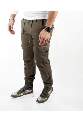 DeepSEA Haki Paçası ve Beli Lastikli Bağcıklı Erkek Kargo Pantolon 1601569-023
