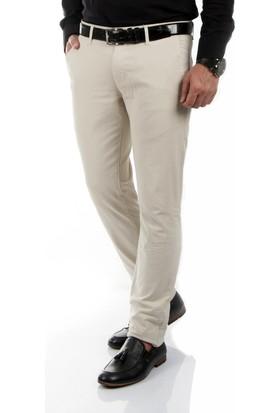 DeepSEA Bej Klasik Slim Fit Spor Kesim Keten Erkek Pantolon 1702440-021