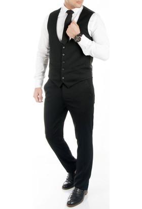 DeepSEA Siyah Kendinden Ufak Kare Desenli Erkek Pantolon Yelek Takım 1709083-002