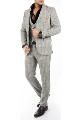 DeepSEA Gri Sepet Örgü Desenli Kırçıllı Yelekli Erkek Takım Elbise 1710398-012