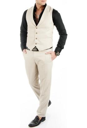 DeepSEA Bej Kendinden Desenli İtalyan Kesim Erkek Pantolon Yelek Takım 1790006-021