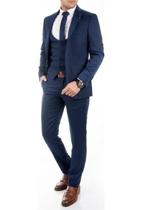 DeepSEA Saks Mavi İtalyan Kesim Likralı Zincir Aksesuarlı Yelekli Erkek Takım Elbise 1710383-025