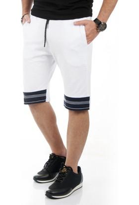 DeepSEA Beyaz Beli Lastikli Dizleri Çizgili Erkek Şort 1710101-001