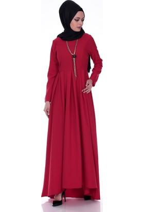 Modaateşi Kolyeli Pileli Elbise 4046 Kırmızı