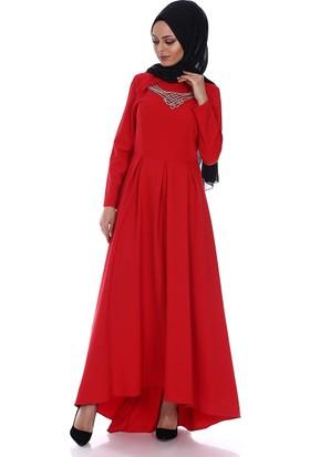 Modaateşi Kolyeli Pileli Elbise 5105 Kırmızı