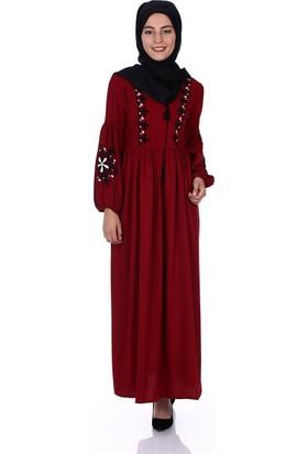 Modaateşi Nakışlı Elbise 0968 Bordo