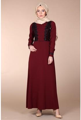 Modaateşi İşlemeli Abiye Elbise 0150 Bordo
