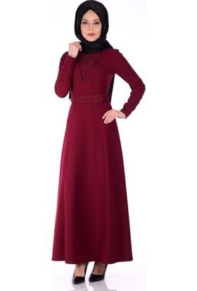 Modaateşi Dantel Detaylı Abiye Elbise 0208 Bordo