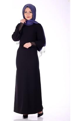 Modaateşi Kol İçi Güpürlü Abiye Elbise 0221 Siyah