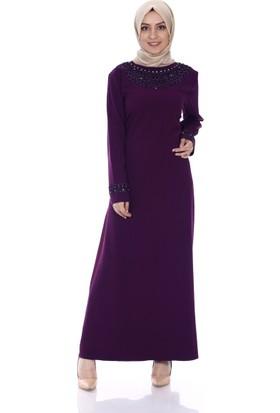 Modaateşi Taş İşli Abiye Elbise 0246 Mürdüm