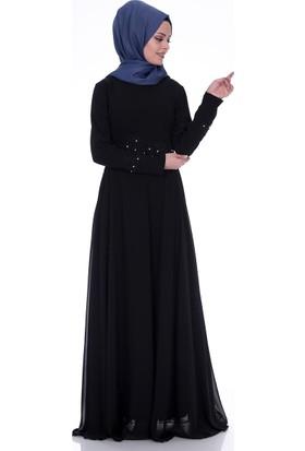 Modaateşi Aplikeli Abiye Elbise 0265 Siyah