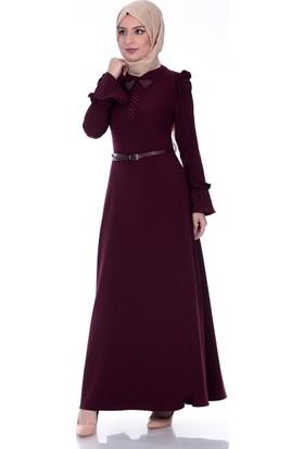Modaateşi İnci Detay Elbise 0275 Bordo