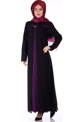 Modaateşi Şifon Detaylı Abiye Elbise 1600 Mürdüm