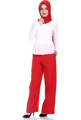 Modaateşi Bol Paça Pantolon 2256 Kırmızı