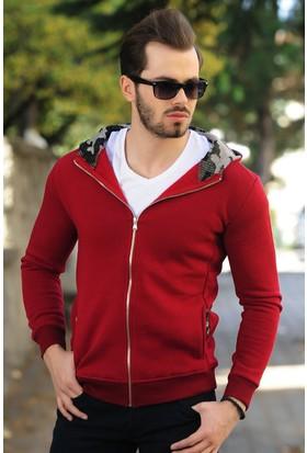 Modaateşi Kamuflaj Kapüşonlu Kırmızı Ceket