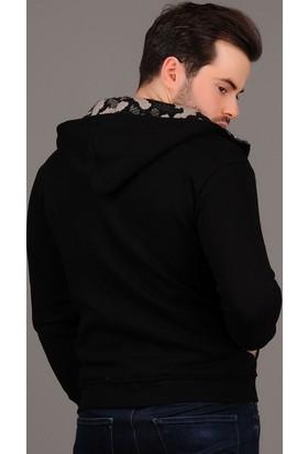 Modaateşi Kapüşonlu Kamuflaj Detaylı Siyah Ceket