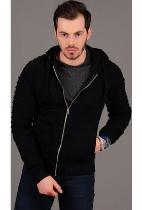 Modaateşi Kol Tırtıklı Kapüşonlu Fermuarlı Siyah Ceket