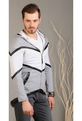 Modaateşi Zigzag Desen Kapüşonlu Ceket Gri