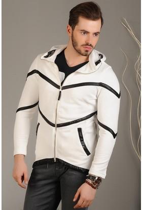 Modaateşi Zigzag Desenli Fermuarlı Ceket Beyaz