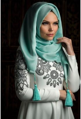 Muslima Wear Püsküllü Şal 34001 Mint