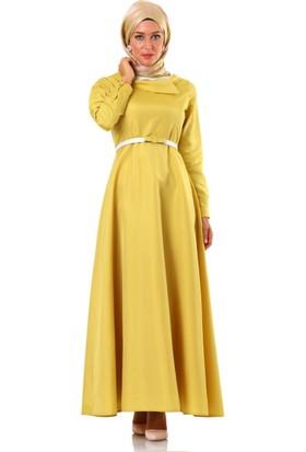 Tuğba Asimetrik Yakalı Elbise F6774 Sarı