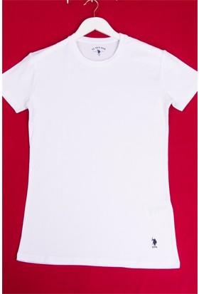 U.S. Polo Assn. Erkek Yuvarlak Yaka Likralı Atlet Beyaz