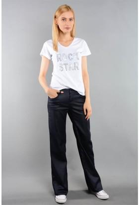 Rodin Hills Lacivert Bayan Bol Paça Kot Pantolon 481