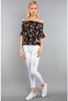 Rodin Hills Beyaz Bayan Taşlı Paça Püsküllü Kot Pantolon 303