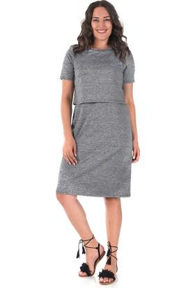 Plus Gri İki Parça Görünümlü Elbise 56