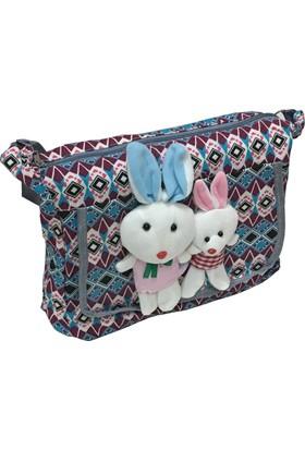 Larasima Postacı Çanta Tavşan Maskotlu Bordo