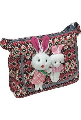 Larasima Postacı Çanta Tavşan Maskotlu Kırmızı