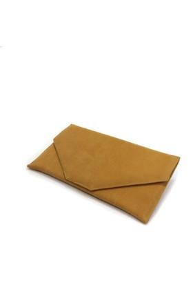 Milles Süet Sarı Renk Zarf Abiye Çanta