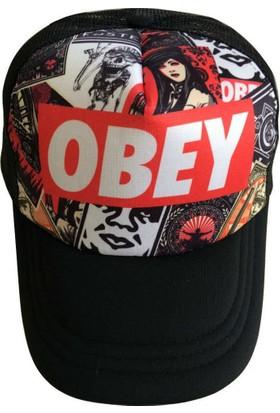 Kazandıran Outlet Erkek Obey Desenli Fileli Şapka Erkek
