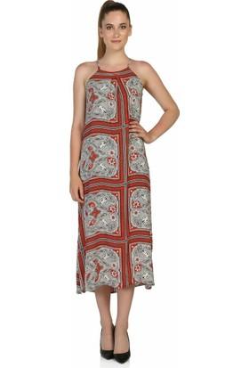 Dm Desenli Uzun Elbise
